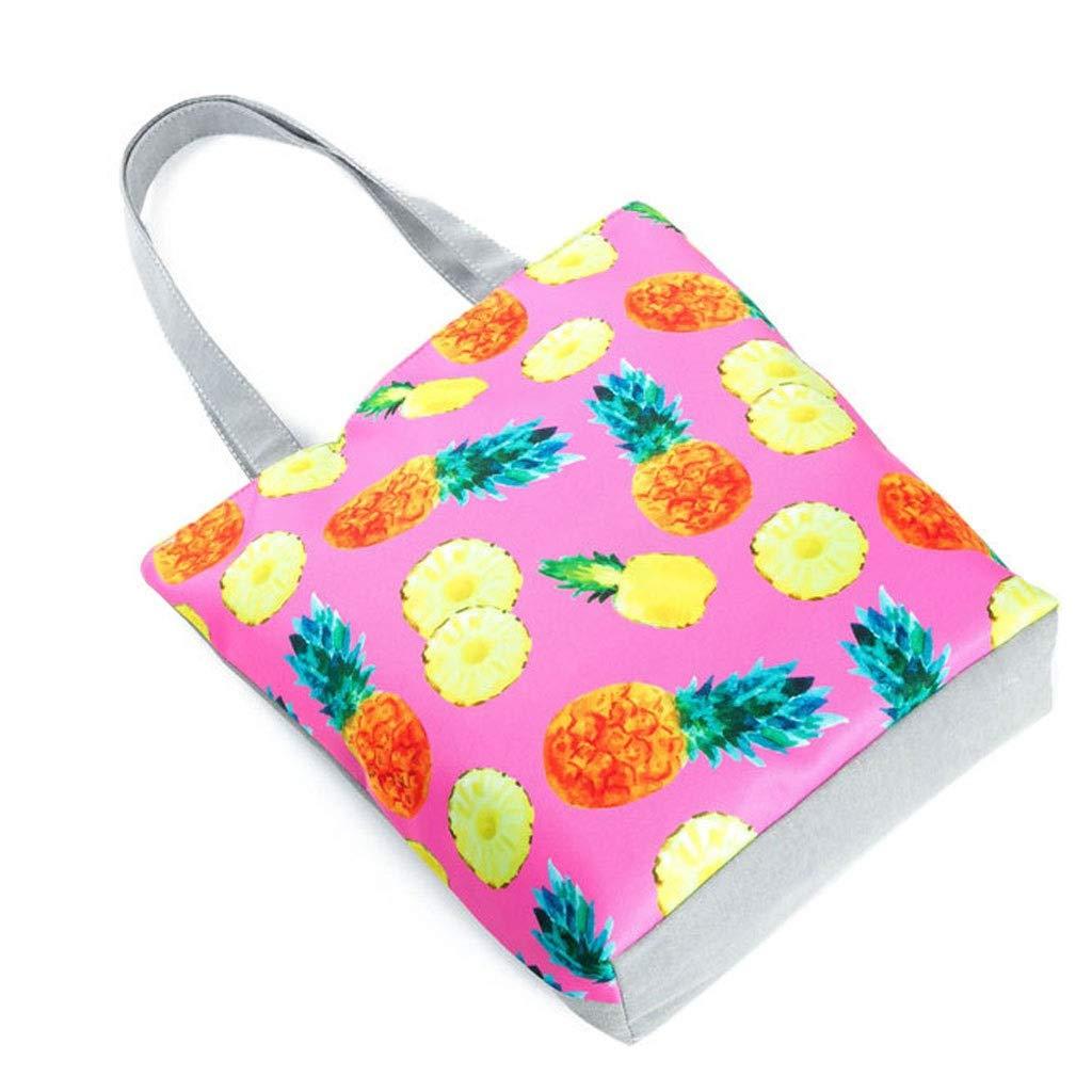 HLD frukt ananas tryck dam axelväska konst damtygväska shoppingväska strandväska messengerväskor (färg: G) G
