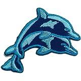 Parches - bebé delfín - azul - 6.9x4.1cm - termoadhesivos bordados aplique para ropa
