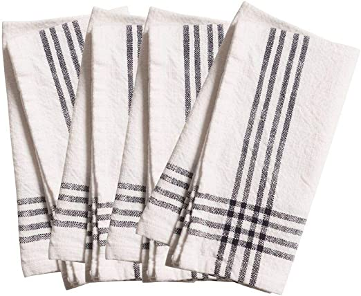 Amazon Com Kaf Home Lyon Set Of 4 Napkins 20 X 20 White W Black Kitchen Dining