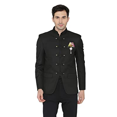 WINTAGE Men's Polyester Cotton Casual and Festive Indian Jodhpuri Grandad Bandhgala Blazer : Black at Men's Clothing store