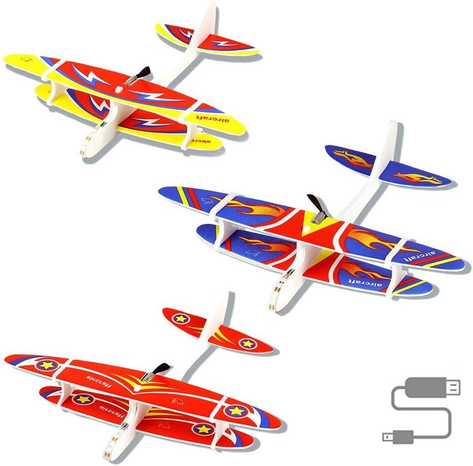 Outdoor Flugspielzeug f/ür Kinder Segelflugzeug,Schaumflugzeug mit leichtem DIY,Fallschirm Spielzeug Kinder Modell Schaum Flugzeug Manuelles Wurfspiel Flugzeugspielzeug