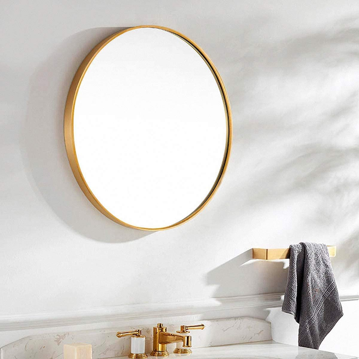 Amazon Com Tinytimes 23 63 Modern Large Round Mirror Accent Mirror Round Wall Mirror Brushed Framed Round Metal Mirror Home Decor For Bathroom Living Rooms Entryways Gold Furniture Decor