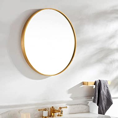 TinyTimes 31.5  Modern Large Round Mirror, Gold Round Wall Mirror, Brushed Framed, Circle Metal Mirror, Home Decor, for Bathroom, Living Rooms, Entryways