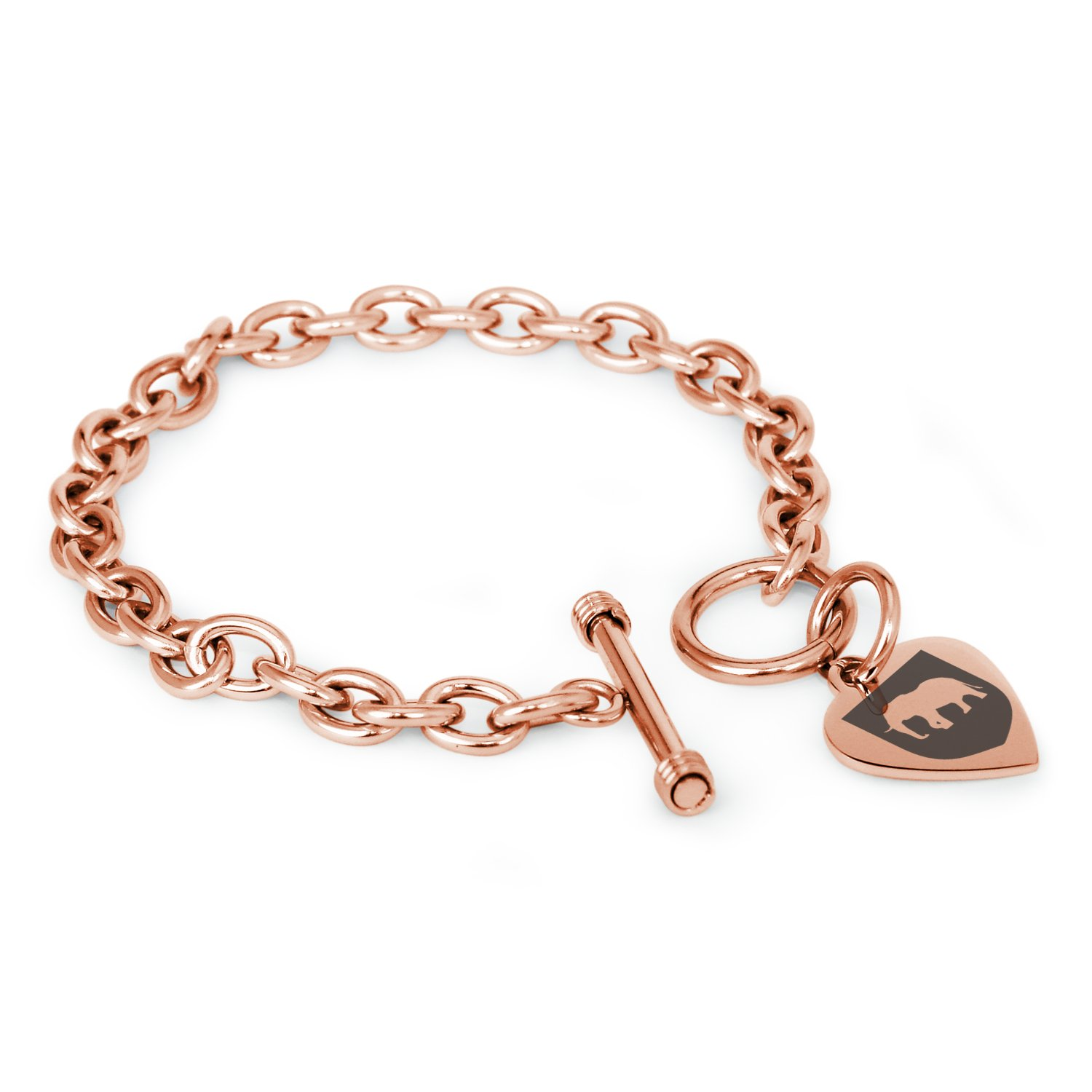 Tioneer Rose Gold Plated Stainless Steel Elephant Strength Coat of Arms Shield Symbols Heart Charm, Bracelet Only