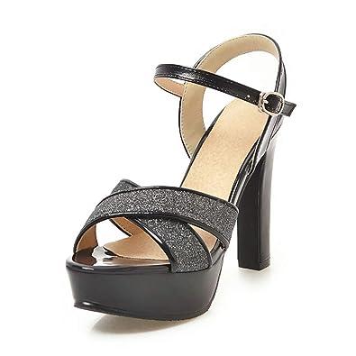 c36b82afaf2 Women high Heel Platform Sandals Ankle Strap Gold Shoes Block Heels Ladies  Wedding Glitter Sandals