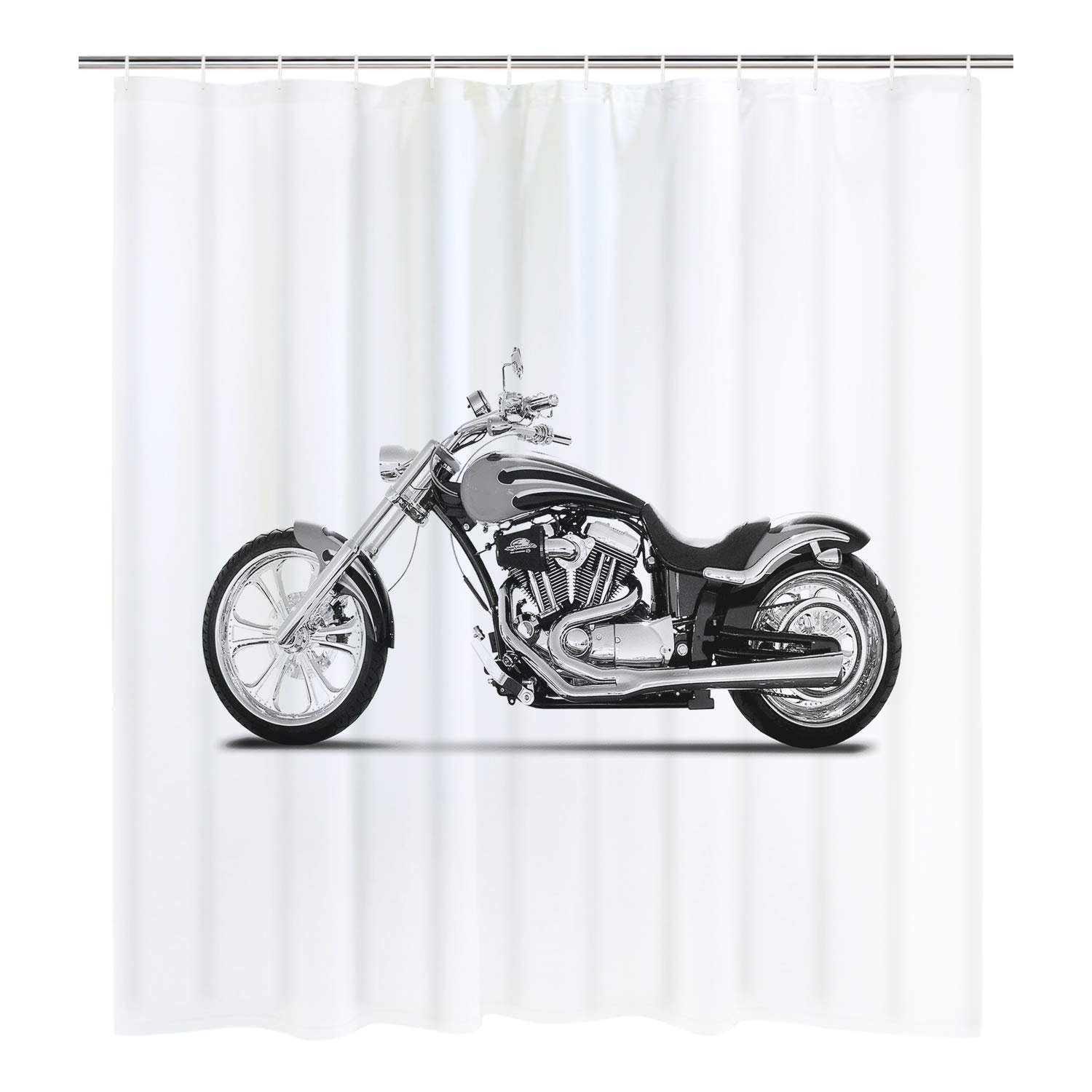 Amazon BLEUM CADE Cool Motorcycle Shower Curtain Black And White Bathroom Durable Mildew Resistant Waterproof With 12 Hooks Home