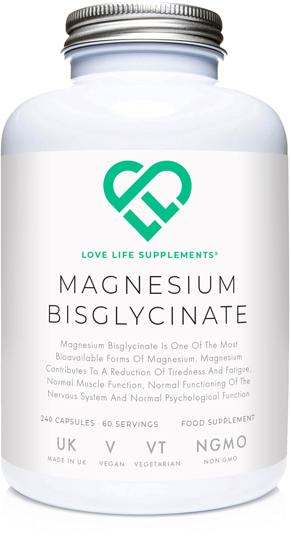 "LLS Magnesium Bisglycinate (Chelated) | Zero Bulking Agents | 2750mg (303mg Magnesium) | 240 Capsules / 60 Servings | Highly Bioavailable Form of Magnesium | Manufactured in the UK Under BRC Certification | Love Life Supplements - ""Live Healthy, Love Life."""