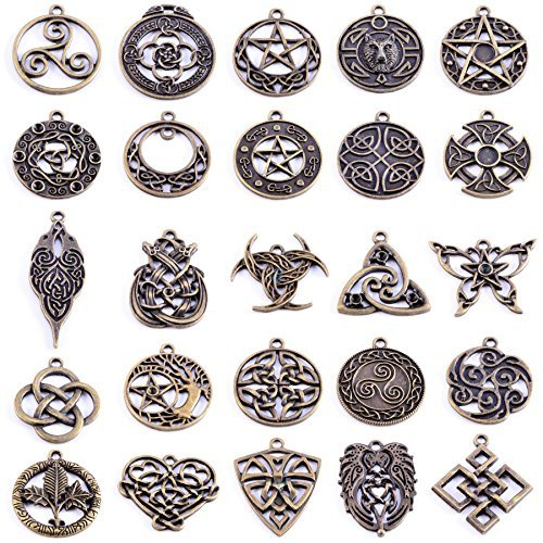 Charms Cross Pewter (Michelle Queen Celtic Cross Charms for Jewelry Making Pack of 25)