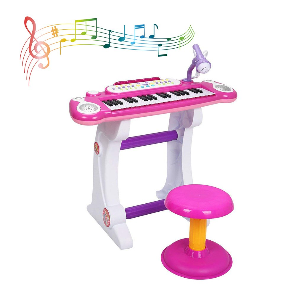 COLOR TREE Musical Kids Electronic Keyboard 37 Key Piano with Microphone