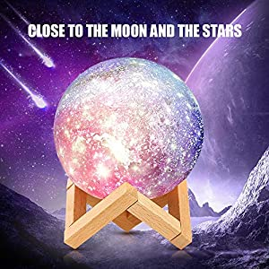 Moon Lamp,Rechargeable 3D Printing Moon Light Lamp,Remote&Touch Control with Wooden Stand,16 Colors Lunar Night Light for Kids Women Birthday Gifts (Diameter 6.2 inch)