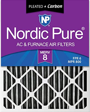 Nordic Pure 18x25x1 MERV 14 Plus Carbon Pleated AC Furnace Air Filters 12 Pack