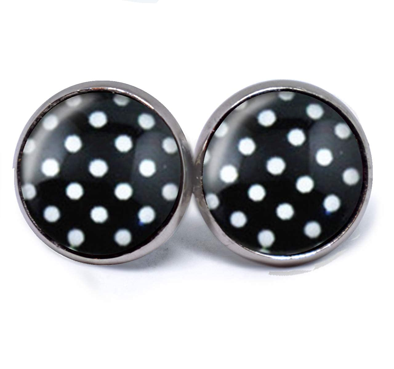 1 Paar Ohrstecker Cabochon Ohrschmuck Ohrringe Dots Punkte Rockabilly