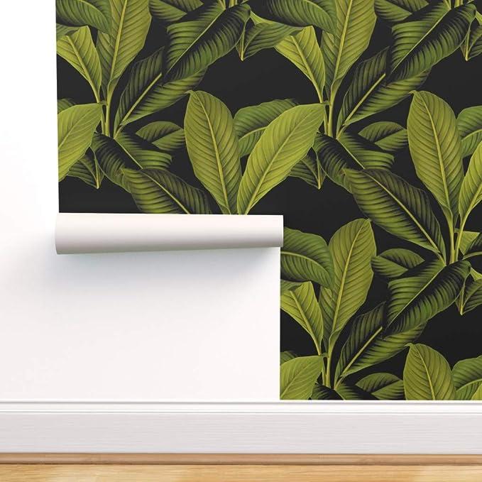 Pink palm removable wallpaper  cute self adhesive wallpaper  botanical banana leaves temporary wallpaper B145-27
