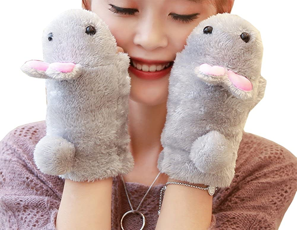 Women kid Girls Cute Rabbit Fingerless Gloves Fluffy Warm Soft Winter Mitten