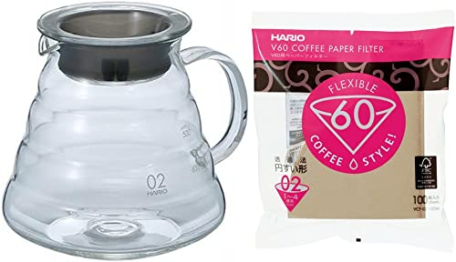 The Hario XGS-60TB Glass Kettle V60 Series with Lid and 100 Paper Filters Japan Import