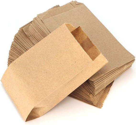 Image ofRUBY - 100 Kraft bolsa de papel marrón, bolsas de regalo/bolsas de fiesta/calendario de adviento/navidad/bodas/fiestas de cumpleaños/mercados/cafeterías (8cm x 15cm, 100 unids)