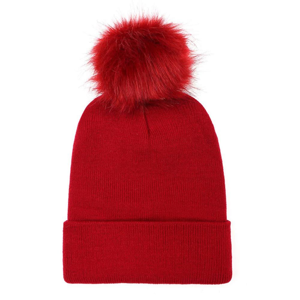 Cap for Men, QHJ Keep Warm Winter Fur Ball Knitted Wool Beanie Hemming Hat Cap