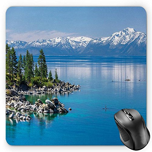 se Pad by, Blue Waters of Lake Tahoe Snowy Mountains Pine Trees Rocks Relax Shore, Standard Size Rectangle Non-Slip Rubber Mousepad, Light Blue Green Grey ()