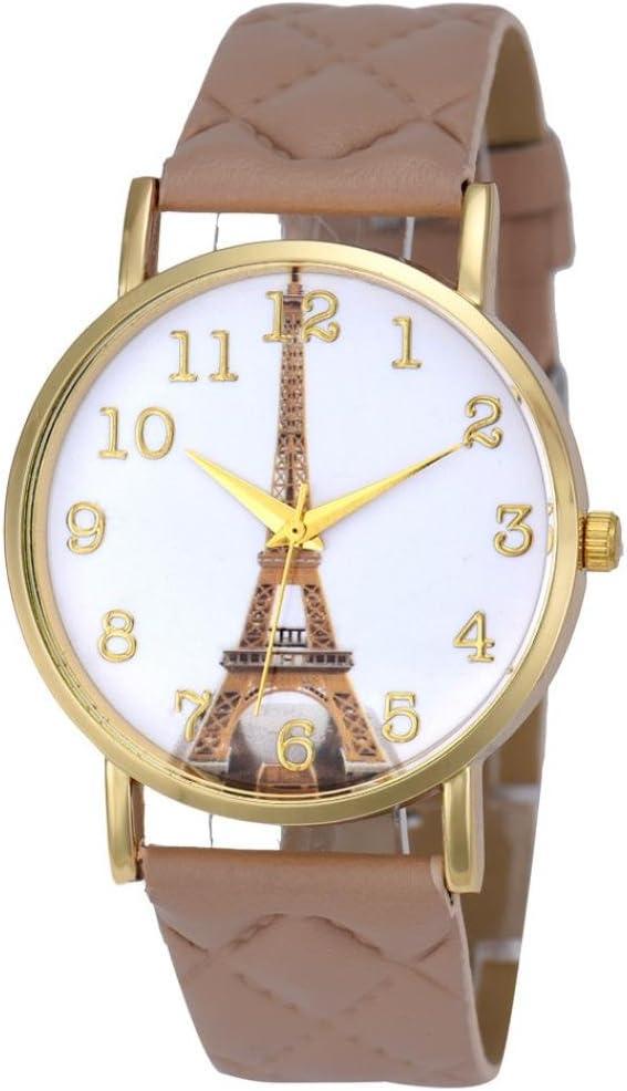 아이에슨 파리 에펠탑 여성 인조 가죽 아날로그 쿼츠 손목 시계 (베이지)