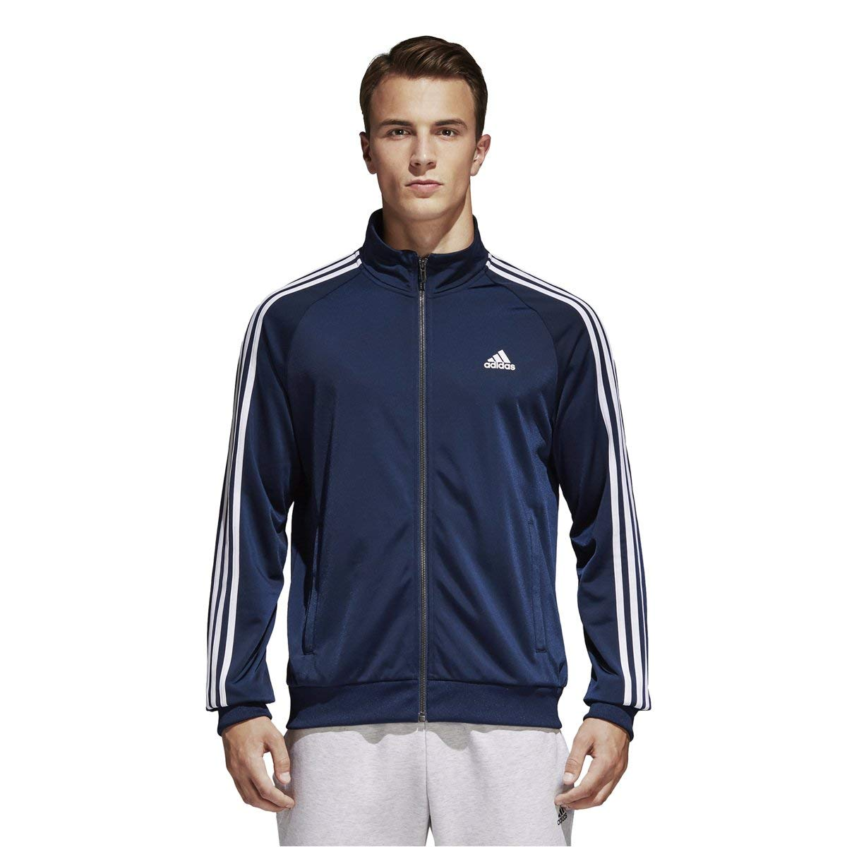 adidas Men's Essentials 3-Stripe Tricot Track Jacket, Collegiate Navy/White, Small by adidas
