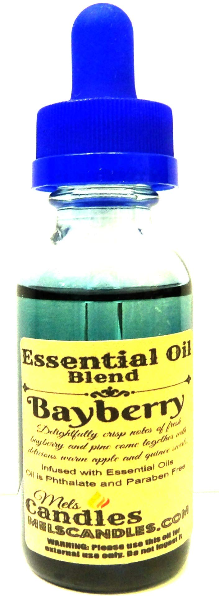 Mels Candles & More Bayberry 1 Ounce / 29.5 ml Blue Glass Bottle of Premium Grade A, Skin Safe Fragrance/Essential Oil Blend.