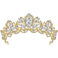 Fablcrew Vintage Reina Princesa Corona tocado de novia tocado de cristal para mujeres y niñas tamaño 15,5 x 5,6 cm…