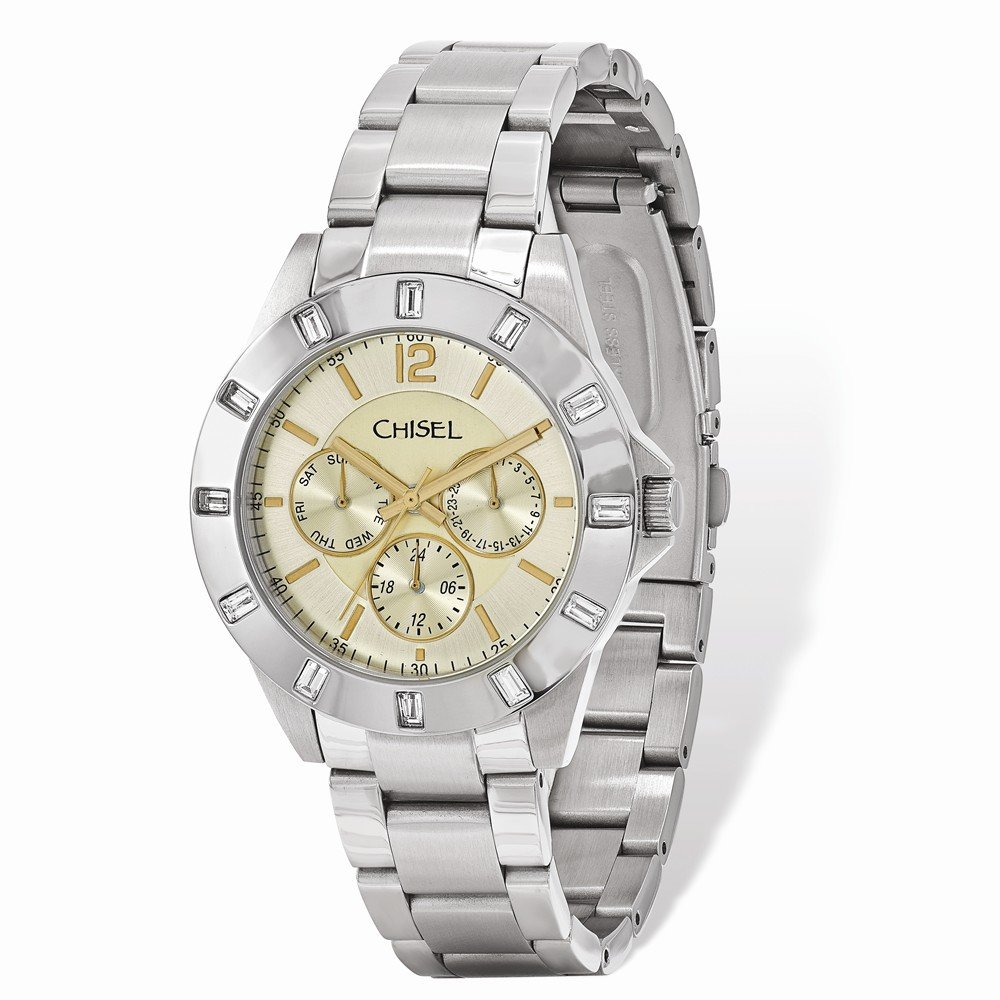 Top 10 Jewelry Gift Mens Chisel Stainless Steel Champagne Dial Watch