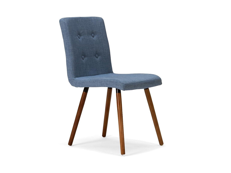 Massivum Esszimmer-Stuhl Aranea 42x81x56 cm aus Stoff blau mit Holz-Gestell Buche massiv braun lackiert Retrostuhl