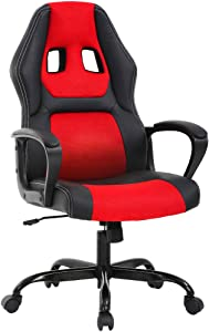 PC Gaming Chair Ergonomic Office Chair Desk Chair with Lumbar Support Arms Headrest High Back PU Leather Racing Chair Rolling Swivel Executive Computer Chair for Women Adults Girls,Red