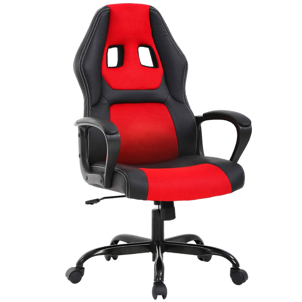 Home Office Chair PC Gaming Chair Ergonomic Desk Chair PU Leather Racing Chair Executive Computer Chair with Mesh Seat Swivel Rolling Chair Lumbar Support for Women Men, Red