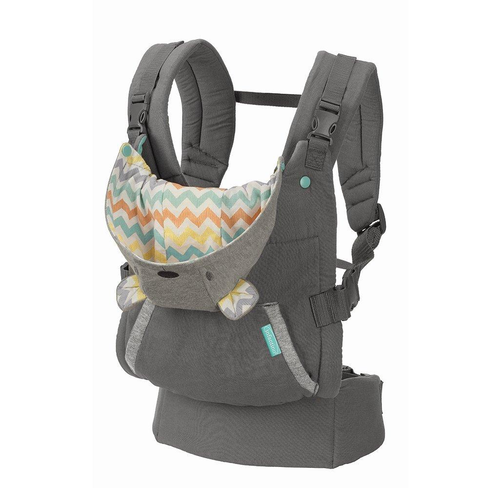 Infantino Cuddle Up Ergnomische Babytrage mit Kapuze grau Baby Carrier