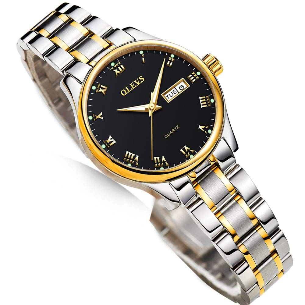 Business Women Watches Day Date,Woman Watches with Silver Gold Stainless Steel,Fashion Luminous Ladies Watches with Black/White Dial,Roman Numeral Womens Watches,Small Face Waterproof Ladies Watches