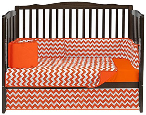 Baby Doll Bedding Chevron 4 Piece Crib Bedding Set, Orange by BabyDoll Bedding   B00LIVJ3NA