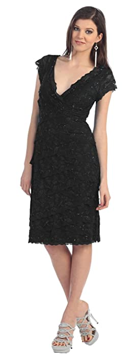 Mother of the Bride Formal Short Lace Dress #974 (Medium, Black)