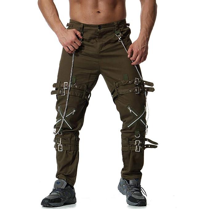 Cebbay Pantalones Casuales para Hombres Pantalones de Hombre Pantalones  Deportivos Cremallera de Gran tamaño Retro Estilo f8a2781d8b2