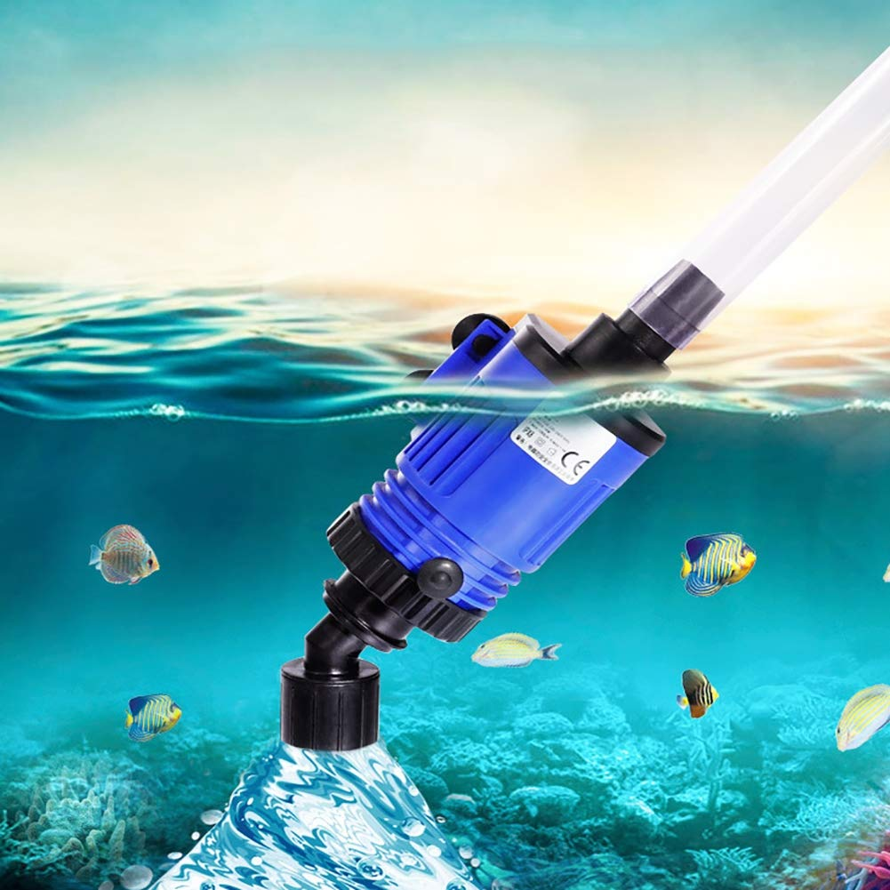 TUDIO Aquarium Water Changer-Gravel Cleaners Automatic Fish Tank Water Changer with 0.9-1.4m High Lift 2 Nozzles 180cm Power Cord,16w6m