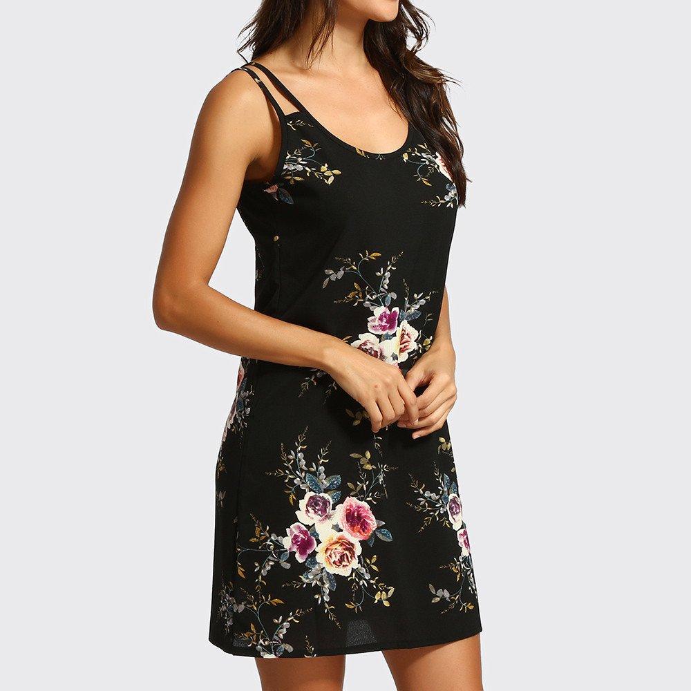LEERYAAY Womens Bohemian Print Short Sleeve Dress V Neck Boho Casual Mini Beachwear