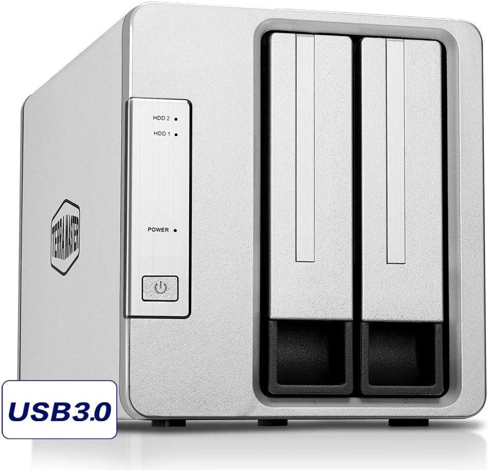 TERRAMASTER D2-310 USB Type C External Hard Drive RAID Enclosure USB3.0 (5Gbps) 2-Bay RAID Storage Support RAID 0/1/Single (Diskless)