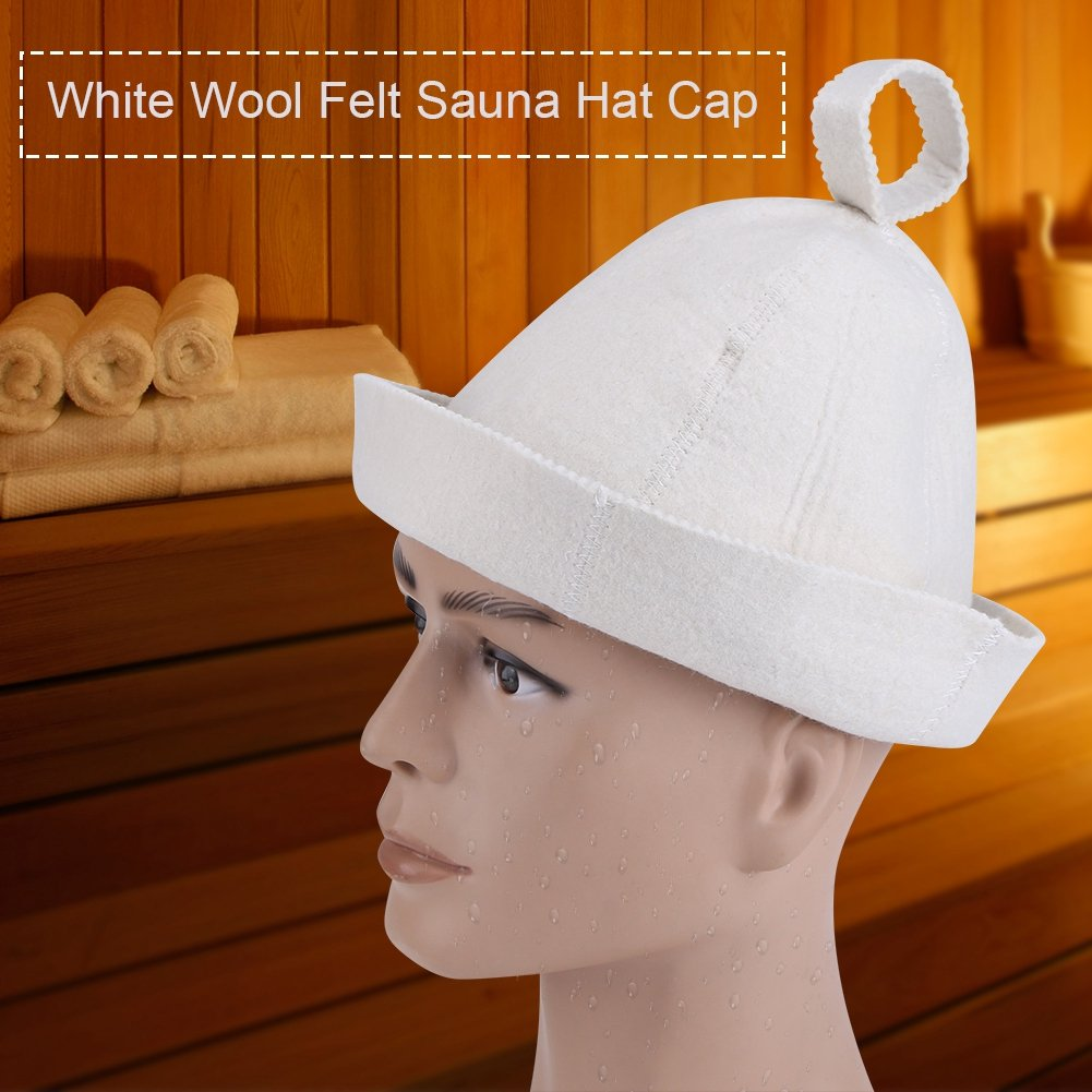 Sombrero de sauna Sombrero blanco de fieltro de lana Sombrero de sauna para unisex Ruso Banya Sauna Hut Ba/ño de lana transpirable Estilo de casco de fieltro sombrero con gancho Loop Protecci/ón de cabe