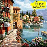 DIY Paint by Numbers Kit with 6pcs Brushes and Rolling Canvas, Oil Painting Kit for Adults, Kids Beginner - Seascape Resort 16''x20''