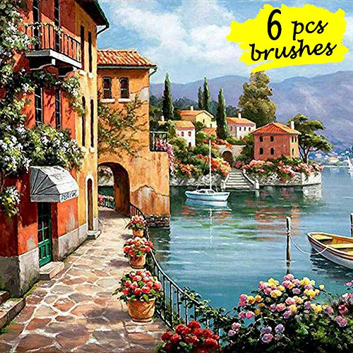 DIY Paint by Numbers Kit with 6pcs Brushes and Rolling Canvas, Oil Painting Kit for Adults, Kids Beginner - Seascape Resort 16