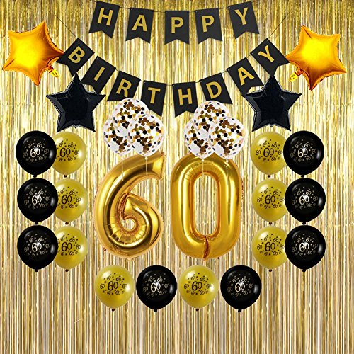 60th Birthday Decorations Gifts for Men & Women- Create Unique Events with Gold Foil Fringe Curtains, Happy Birthday Banner, 60 Number and Confetti Balloons -