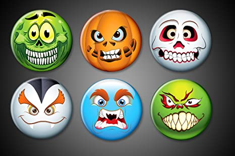 Halloween Emoji Magnets Set Pumpkin Faces Skeletons Skulls Vampires Scary Spooky Holiday Magnets For Fridge Or Boards