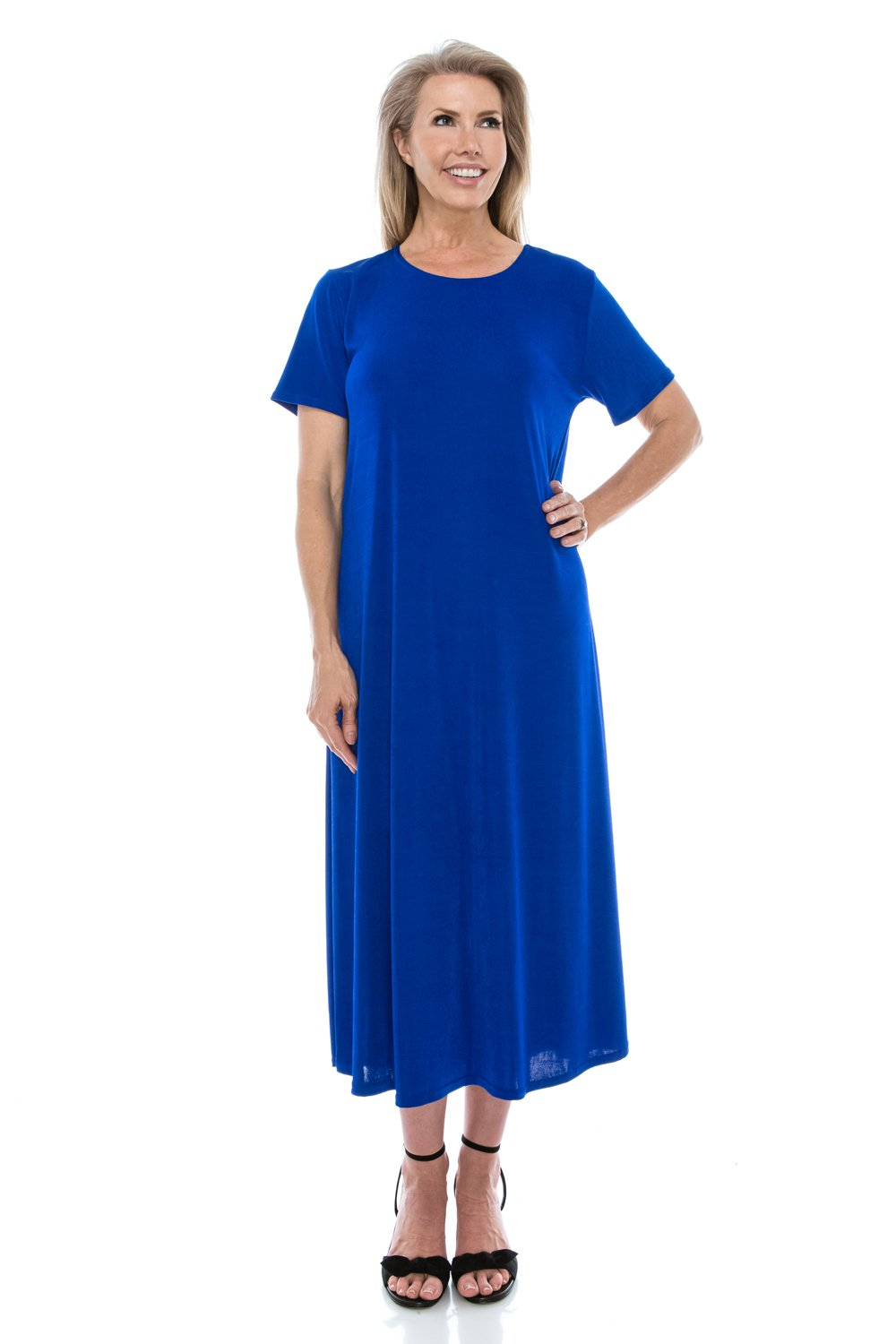 Jostar Stretchy Long Dress with Short Sleeve, Plus Sizes in Royal Color in 3XL Size