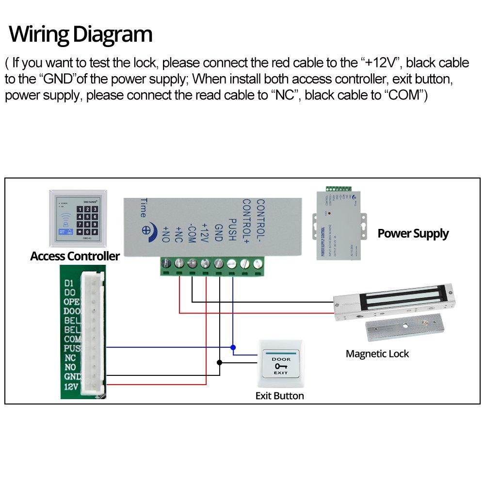 HFeng Control de acceso 280KG (600lbs) de bloqueo magnético ...