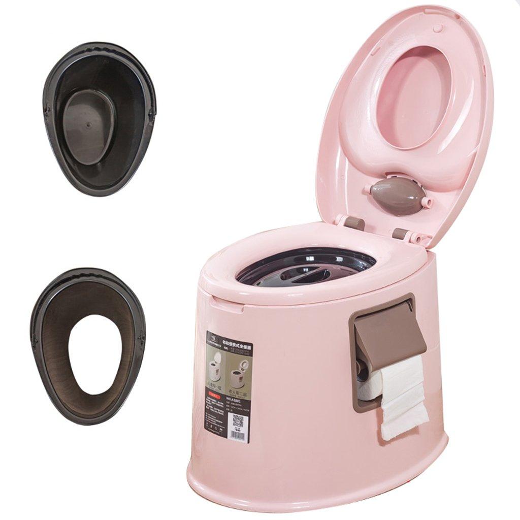 軽量でポータブルなキャンプ用トイレは、屋内と屋外のLooに適していますキャンプキャビンのピクニック釣りとフェスティバルダブルクラムシェルダブルバレル (色 : ピンク ぴんく) B07CXNGVM8 ピンク ぴんく ピンク ぴんく