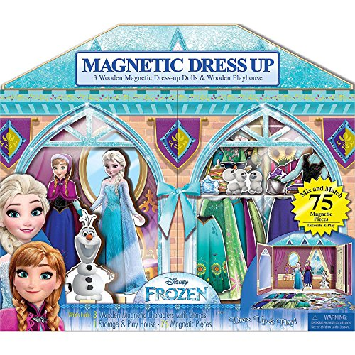 Bendon 3 Wooden Magnetic Dress-Up Dolls & Wooden Play House (75 Pieces) - Disney Frozen (Playhouse Magnetic)