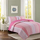 Livilan Pink Cotton Queen Quilt Bedding Set, Summer Comforter for Girls