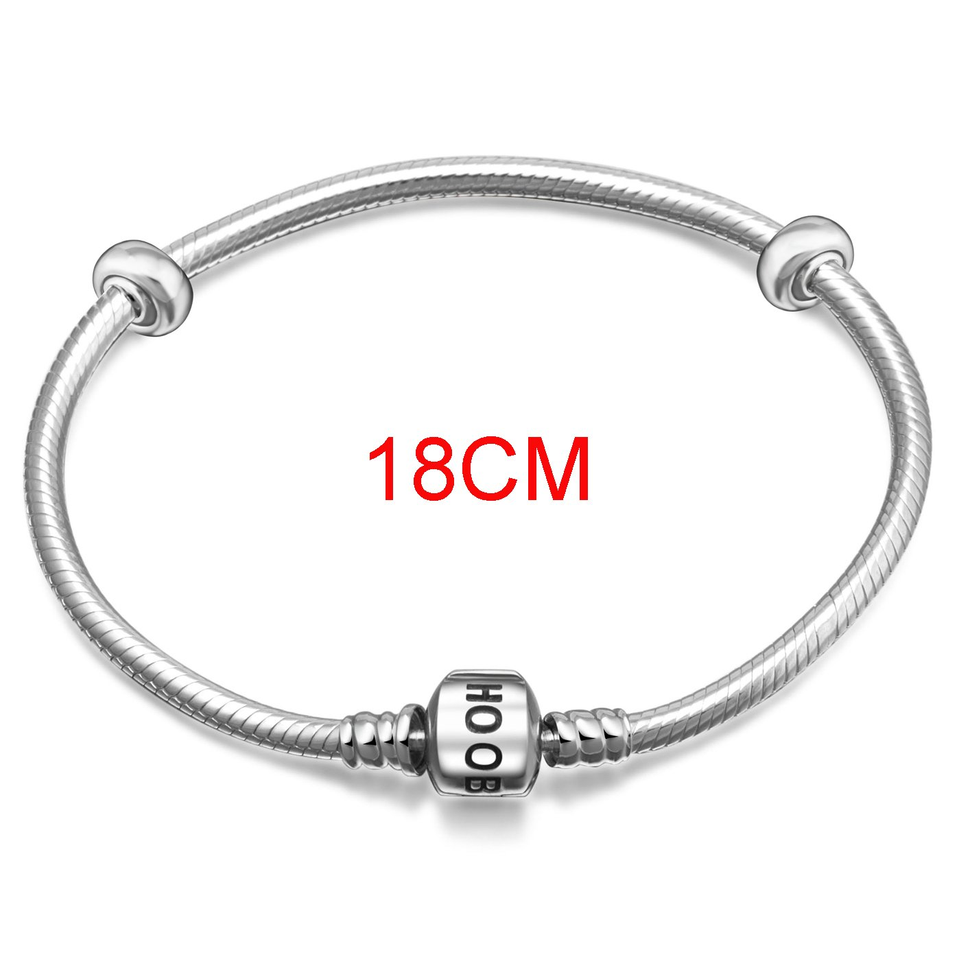 7.1Inchs-18cm Hoobeads 925 Sterling Silver Snake Chain Bracelet with 2 Removable Stopper Beads Charms Bracelet