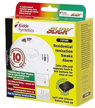 Humo Alarma Mains ionización Slick 10yr bpsca 1sfwr - sr08840 por Kidde: Amazon.es: Electrónica